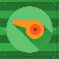 Referee Whistle round icon