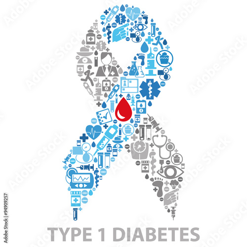 quotdiabetes awareness ribbon made of medical icons isolated