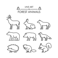 Outline figures of forest animals