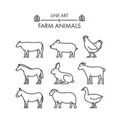 Outline figures of farm animals