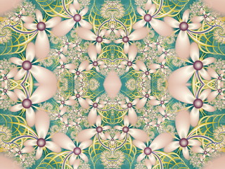 Flower pattern in fractal design. Green and pink palette. Comput