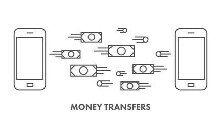 Line icon money transfer. Vector business symbol