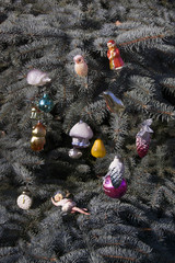 Toys on the Christmas tree.