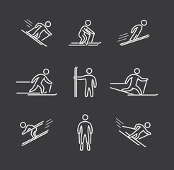 Linear skiing icons set