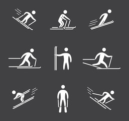 Silhouettes of figures skier icons set