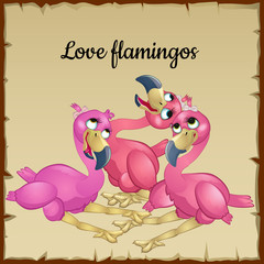 Three cute pink flamingos