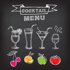 Cocktail bar menu, template design.Vector illustration.