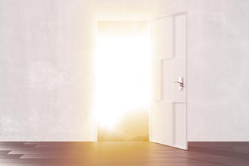 Bright light from the open door of empty room