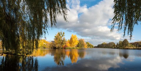 Autumn woodland scene in the Ukrainian Lake