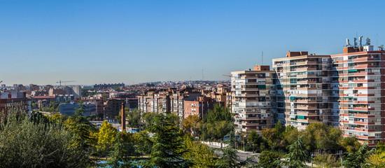 Panoramic view of Legazpi neighborhood in Madrid.