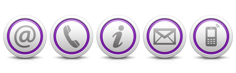 Contact Us – Set of light gray buttons with reflection & purple