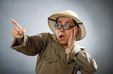 Man wearing safari hat in funny concept