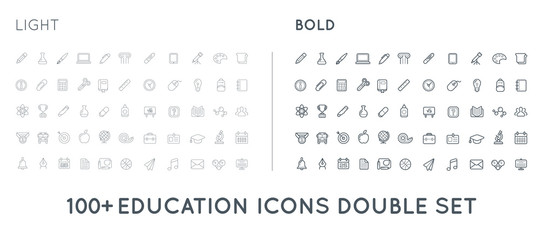 Set of Thin and Bold Vector Education Icons Illustration can be used as Logo or Icon in premium quality