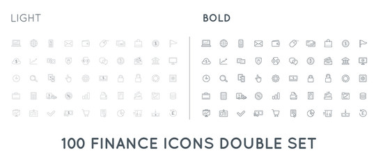 Set of Thin and Bold Vector Finance Money Icons and Payments and Income Rich can be used as Logo or Icon in premium quality