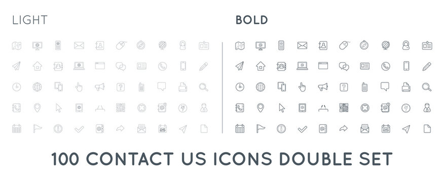 Set of Thin and Bold Contact us Service Elements and Assistance Support can be used as Logo or Icon in premium quality