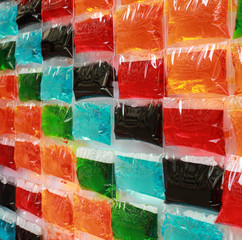 Multi colored water bag Background