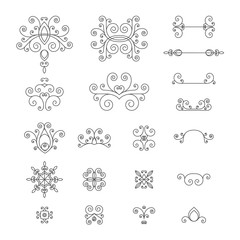 Monochrome, retro set of vintage curls, flourishes and swirl for logos, icons, logos, corporate identity. Vector