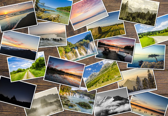 Collage of landscapes on wooden table