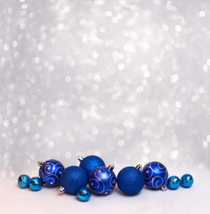 Merry christmas card with  blue balls
