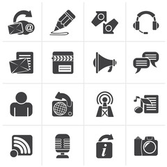 Black Blogging, communication and social network icons - vector icon set