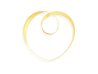 gold satin ribbon with heart shape