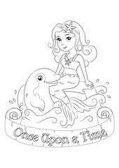 Sweetheart mermaid playing with Dolphin