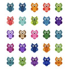 Set of cartoon owls, vector illustration