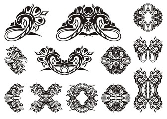 Tribal snake symbols. Set of vector snakes isolated on white. Tattoo, symbol, snake frame or element