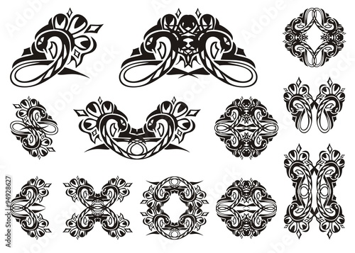 Tribal Snake Symbols Set Of Vector Snakes Isolated On White Tattoo