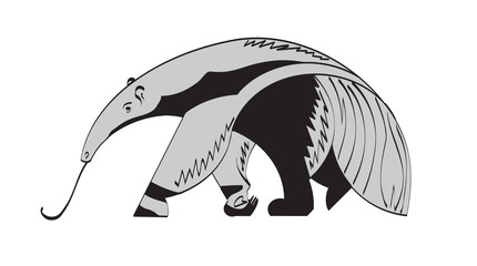 stylized image of a giant anteater