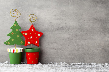 The gray metal background, Christmas decoration.
