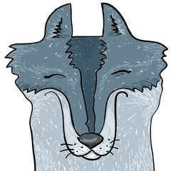 animal hand drawn. snout of gray wolf