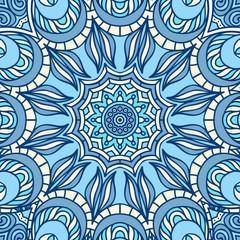 Blue Mandala Seamless Pattern