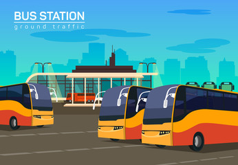 Bus station, vector flat background illustration