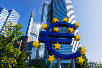 Euro sign at European Central Bank headquarters in Frankfurt.