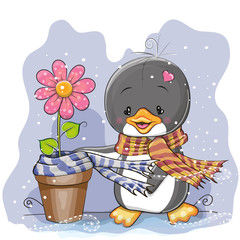 Penguin and a flower