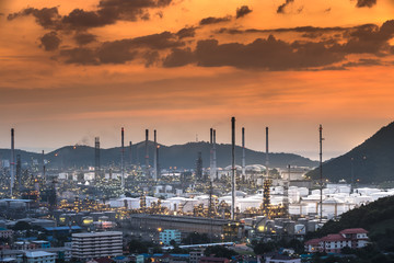 Oil refinery with water vapor in Hamburg, Germany, petrochemical