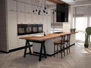 3D illustration of modern kitchen in interior