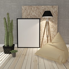 3D illustration of blank board and few more objects
