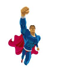 Superhero flying. Strives height. Isolated background