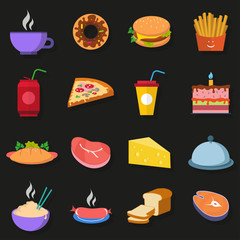 Food Icons on a dark gray background with shadow