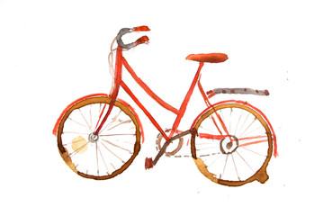 Red vintage bicycle watercolor painting