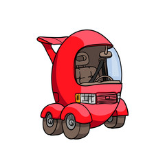 Cartoon stile illustration of car.