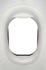 Photo of the window of airplane from inside (flight concept)