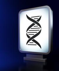 Science concept: DNA on billboard background