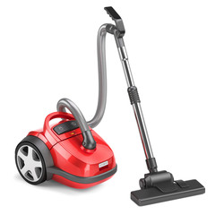 Red vacuum cleaner isolated on white background 3d