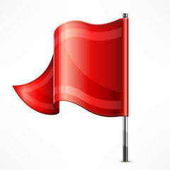 Red flag on metallic pole isolated on white, vector illustration