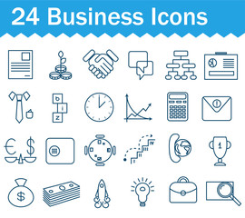 Thin line business, finance and money icons set. Outline icon collection.