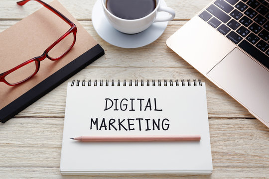 Digital marketing concept on office desk