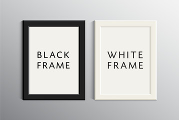 Vector set of white and black empty frames. Realistic 3d illustration